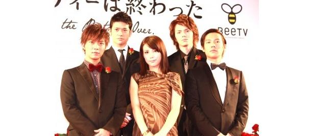 BeeTVドラマ「パーティーは終わった」の配信記念イベントに出席した出演者たち