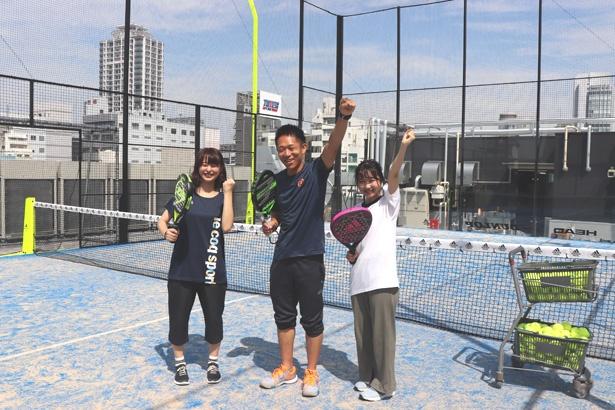 テニス経験者の角(左)と、体育の授業でしか運動してこなかったと言う木野(右)が挑戦!