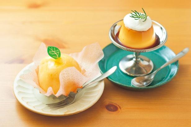 白桃の中にカスタードクリームとスポンジがぎっしり入った桃源郷(500円・左)、うずしおプリン(350円・右)/富永製菓