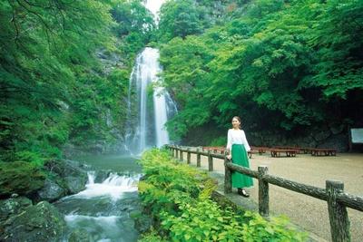 滝の前にベンチが並べられ、座ってゆっくり眺められる/箕面大滝