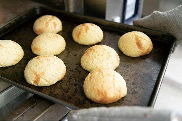 ビスケット生地の素朴なメロンパン(183円)も人気 / 梅ヶ枝製パン所