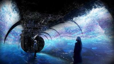 まるで水に包まれ海の中を歩いているかような錯覚を覚える海中トンネル