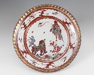 金彩赤絵獅子波ぶち大皿