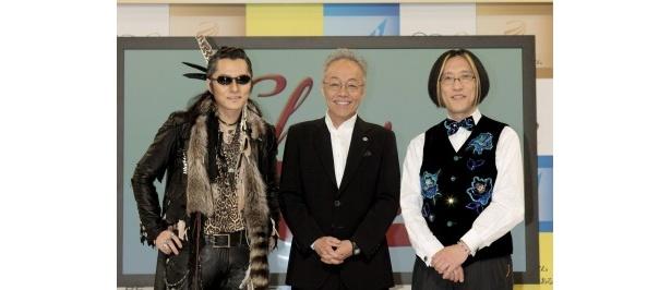 BSプレミアム「ショータイム」の司会進行役の石井竜也、谷村新司、宮川彬良(写真左から)