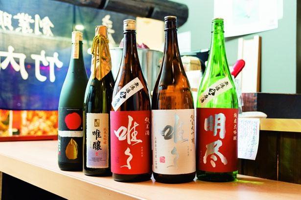 日本酒は常時約25種を用意。90mL210円、180mL400円均一で楽しめる/竹内酒造
