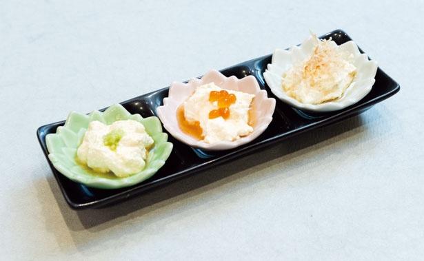 クリームチーズ豆腐(280円)。イクラ・カツオ節・ワサビの3種。こした豆腐となめらかなクリームチーズをMIX/一貫寿司と天ぷら すしいち