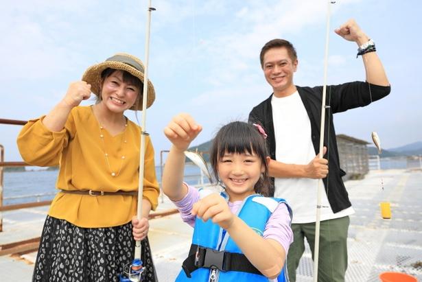 アジやサバ、メジナなど釣れる魚はさまざま。あとは魚のご機嫌と腕次第!