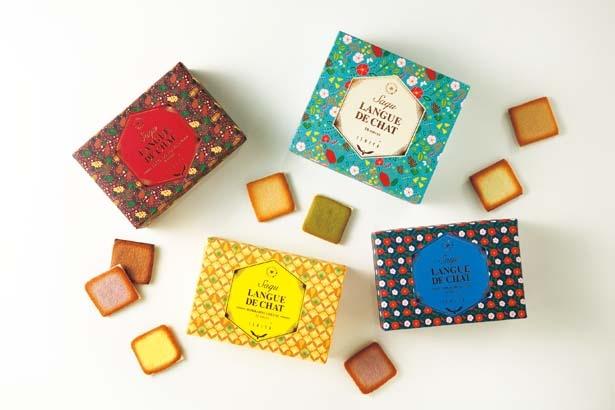 さまざまな味わいのチョコレートを色とりどりのラング・ド・シャでサンドした、サク ラング・ド・シャ12枚入り(1種×12枚、各1296円~)/ISHIYA SHINSAIBASHI