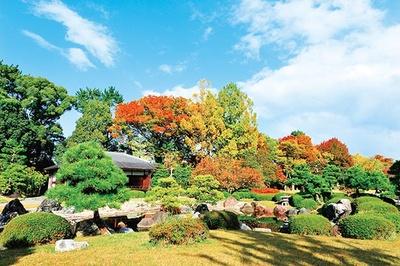 広大な芝生の洋風庭園と池泉回遊式庭園から成る清流園