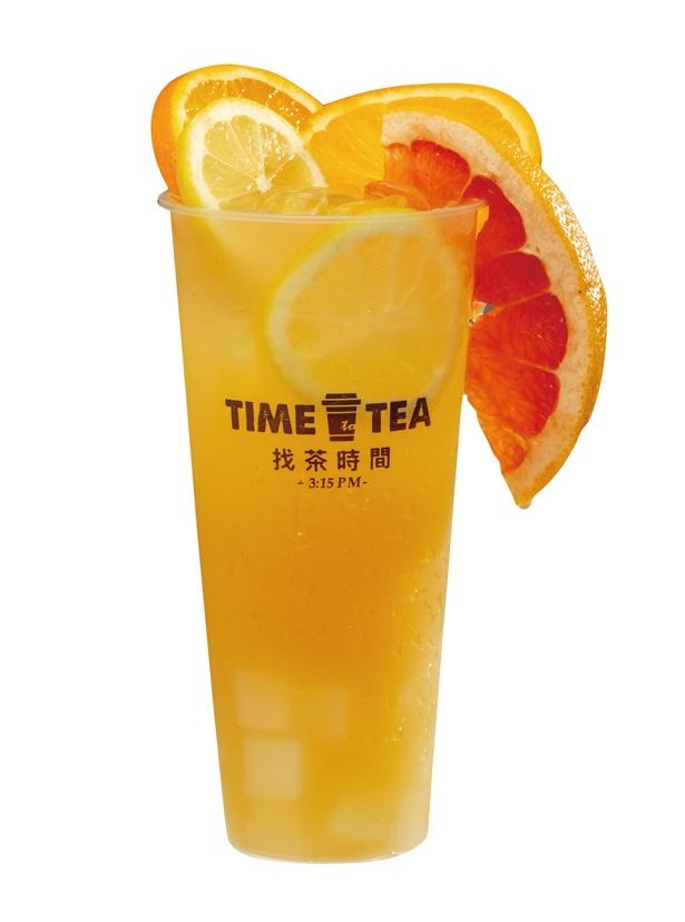 <スタンド>グレープフルーツ、レモン、オレンジのビタミンCが詰まっている「3Cフルーツジャスミン茶」(864円) /「TIME to TEA」(名古屋市中区)