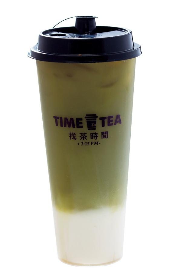 <スタンド>茶カテキンなどの栄養価をたっぷり取ることができる「食べる掛川緑茶ラテ」(L 475円) /「TIME to TEA」(名古屋市中区)