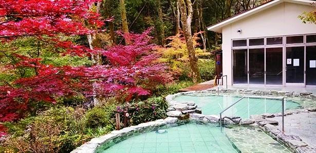 紅葉に包まれた温泉をオシャレに満喫