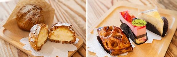 オーダー後にクリームを詰めるシュークリーム(写真左・190円)。右の写真はアップルパイ(300円)、フランボワーズが香るルボア(450円)、ミルクレープ(380円) ※10月以降料金変動
