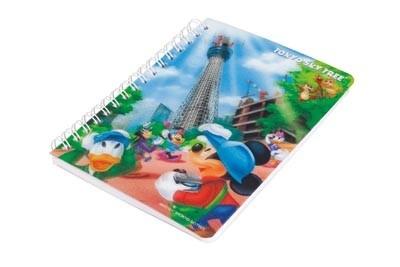 ディズニーとのWライセンス商品「3Dリングノート建設中 スタンダード」(525円)