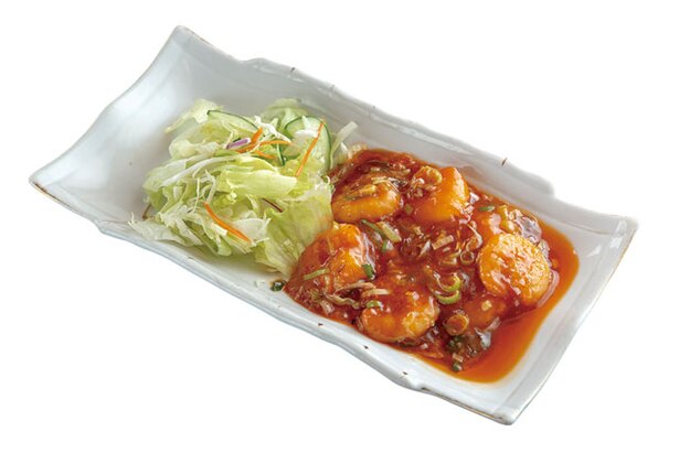 中華料理 孟渓苑 / 「エビチリソース」(810円)。程よい辛さでご飯にも合う