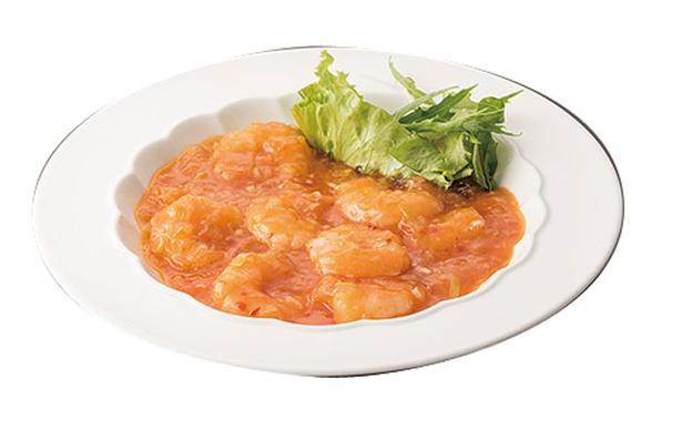 花梨亭 / 「エビのチリソース」(1069円)プリプリ食感のエビと少し甘めのソースが絡む