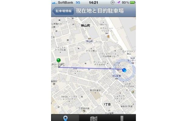 「この駐車場へ行く」の画面。タップすると現在地とパーキングが直線で結ばれて方向も確認できる