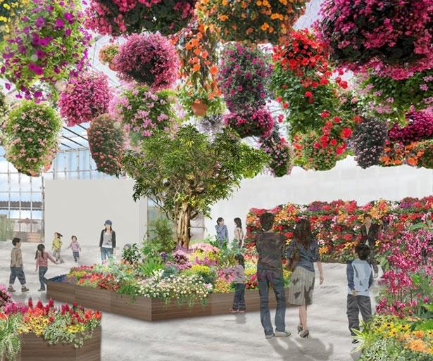 【写真を見る】「エンタメ植物園」温室内の目玉、300を超える関東最大級のフラワーシャンデリア