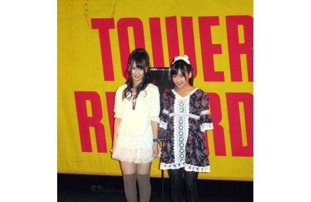 イベントに登場した菊地あやか、仲川遙香(写真左から)