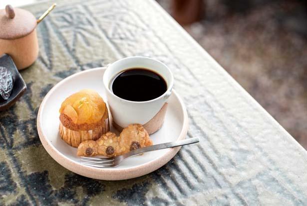 Ogamaひと休みセット(691円)。季節のマフィンにのぼりがまクッキーがセット/Ogama