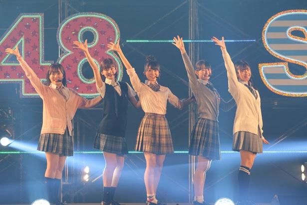 左から山根涼羽(AKB48)・浅井七海(AKB48)・山内瑞葵(AKB48)・信濃宙花(STU48)・磯貝花音(STU48)