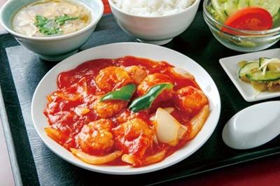福寿飯店 /  人気の、エビのチリソース定食(780円)