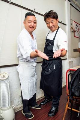 左、「飯田商店」店主・飯田将太さん 右、「鶏喰~TRICK~」店主・西垣昇さん