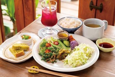 主菜は豆腐とキャベツのふんわり蒸し。副菜は、約8種類から4、5種類がオン。「本日のヤシの木ランチ(ドリンク・ミニデザート2品付き)」(1500円) / 栄養ごはん ヤシの木食堂