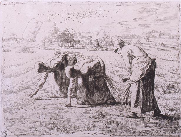 【写真を見る】ジャン=フランソワ・ミレー《落ち穂拾い(第二版)》(1855) 山梨県立美術館蔵