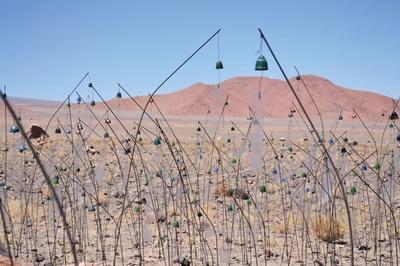 企画展「クリスチャン・ボルタンスキーーLifetime」《アニミタス(チリ)》2014 / ビデオプロジェクション(HD、13時間16秒)、干草、苔、花 / 作家蔵
