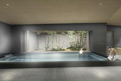 コンセプトにもある露天風呂からは趣深い日本庭園を眺められる