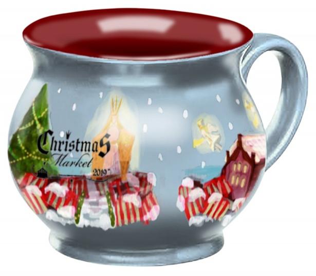 見た目も可愛い陶器のオリジナルマグカップ650円(税込)