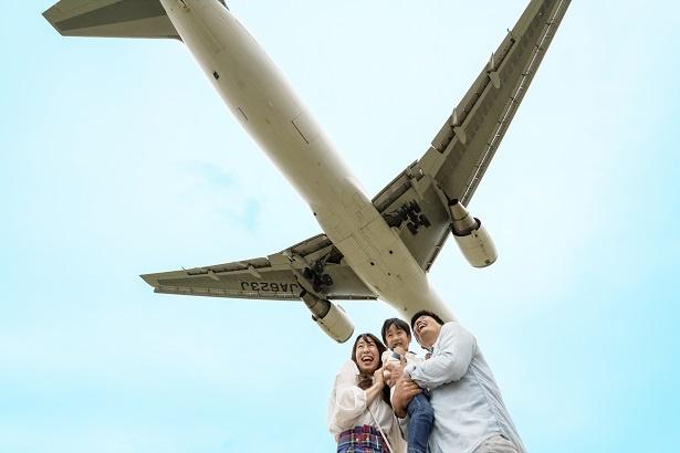 「すごーい!飛行機が真上を通ってるよ!」と翔くん。パパとママも思わずこの顔