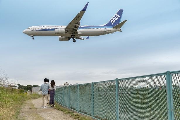 目の前を通過する飛行機。頭上約20メートルを通過するとあって、ジェットエンジンの噴射による風は、土手の砂を巻き上げるほど