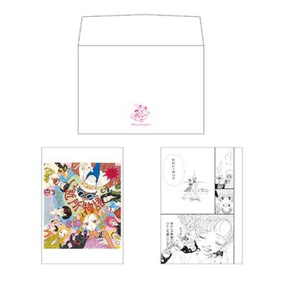 「ご近所物語」のカラーイラスト1枚と作中の名場面イラスト1枚を使用したポストカード2枚セット。可愛くオシャレなデザインの封筒付き(605円)/「特別展 りぼん」