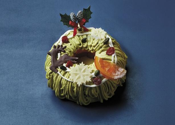 クリスマスリースを思わせるケーキの上に、トナカイのチョコレートなどを飾った「ビストロ エガリテ 田中シェフ監修 ノエルリース 」(税抜4800円)