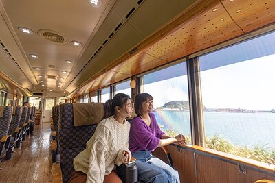 大きな車窓は特急「海幸山幸」ならでは。ダイナミックな自然を楽しめる!