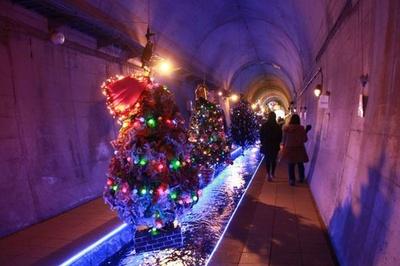 高森湧水トンネル公園 / ツリーがトンネル内で輝く幻想的な雰囲気