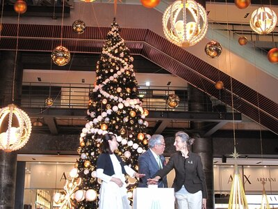 【写真を見る】ラグジュアリーなクリスマスツリーが点灯した瞬間!