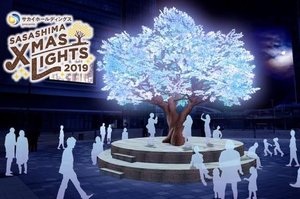 8万球のLEDが音楽と連動しながら縦横無尽に輝くツリーが登場