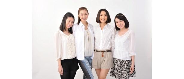 旅サラダガールズに選ばれた黒坂真美、熊澤枝里子、佐々木依里、川島陽子(写真左から)