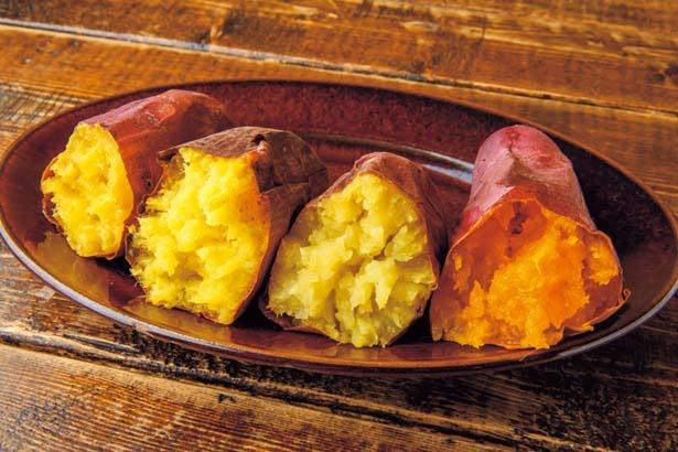 焼き芋(200g440円~)。左から鳴門金時、紅はるか、シルクスイート、ハロウィンスウィート。食べ比べもおすすめ/蜜香屋 中崎町本店