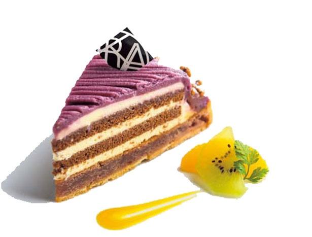 紫いもタルト(500円)。チョコ×チーズが紫芋と好相性!/洛甘舎