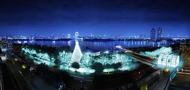 約22万球のイルミネーションと共に東京タワー、スカイツリー、レインボーブリッジを一望