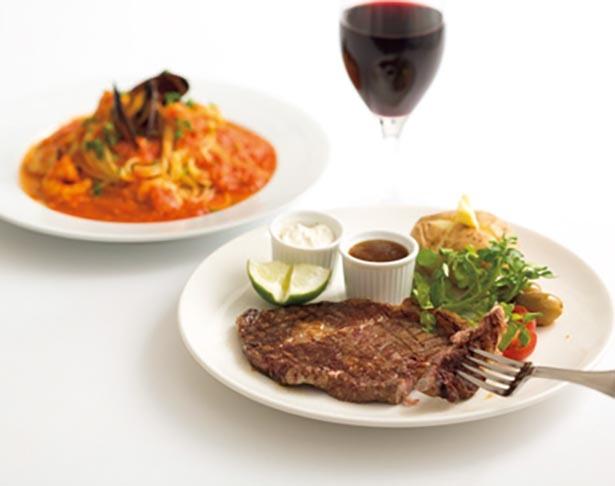 ビーフステーキやワインに合う料理を用意