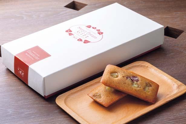 おいもフィナンシェ5個セット(900円)。国産焼きイモパウダーを混ぜ込んだ生地にサツマイモの角切りをのせた、しっとりフィナンシェ/らぽっぽ ファーム 大阪ミナミ店