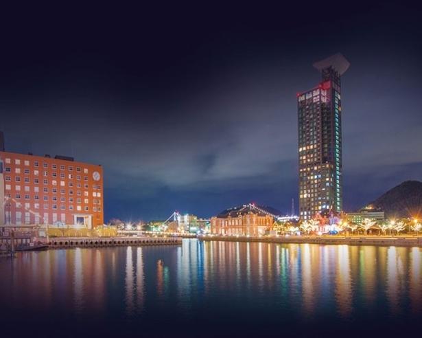 門司港レトロ地区の夜景とコラボしたイルミネーション / 門司港レトロ地区