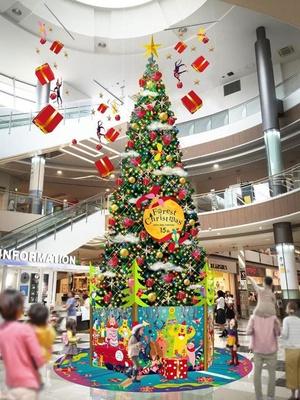 15種類の動物に囲まれたクリスマスツリーが登場 / イオンモール福岡