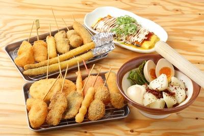 串カツ27種類と料理33種類のほぼ全品が食べ放題!