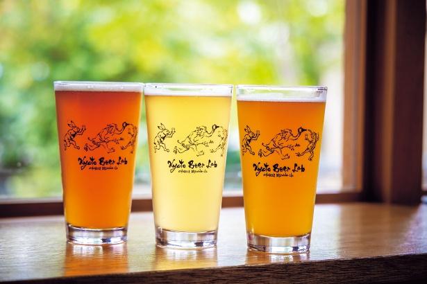 写真左からホップダーム、わさび塩コーゼ、不意打ちサワー(各1000円、税込)。ハーフ各(700円、税込)もあり/Kyoto Beer Lab